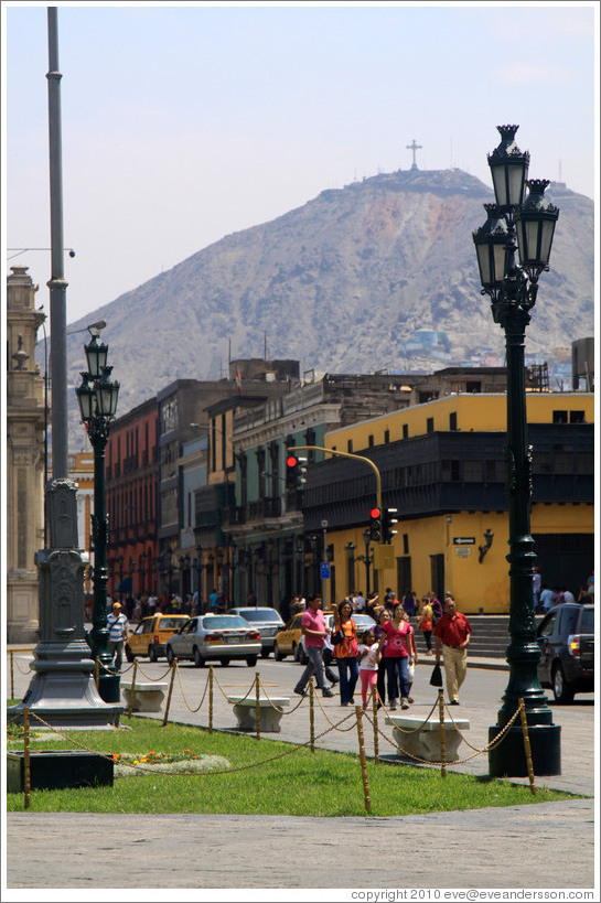 Mountain behind the Plaza de Armas, Historic Center of Lima.