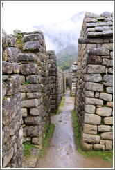 Narrow street between rows of buildings, Machu Picchu.