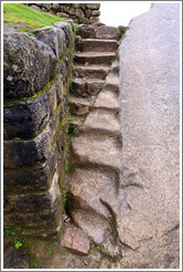 Stairs, partly carved into large stone. Machu Picchu.