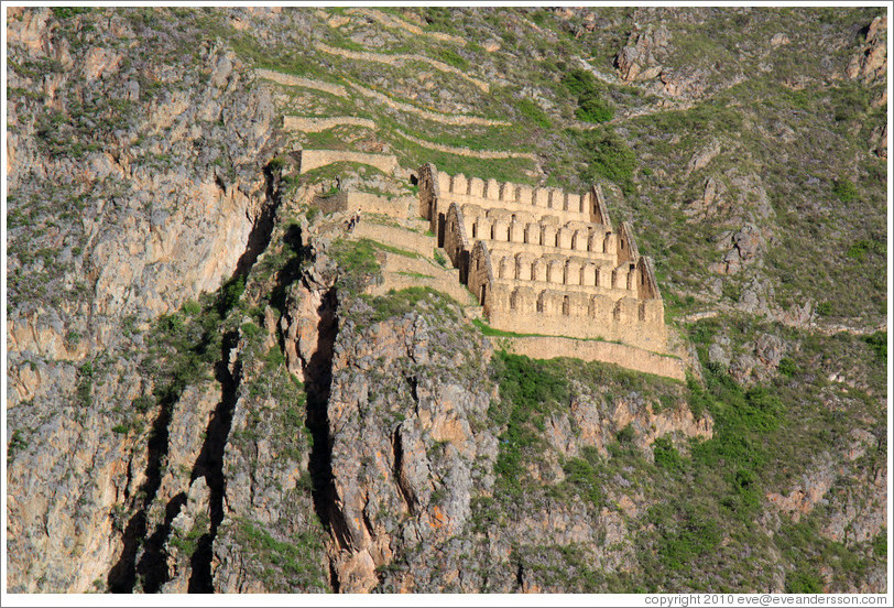 Home > Peru > Ruins on Pinkuylluna hill, seen from the Ollantaytambo ...