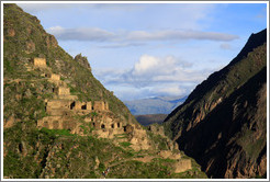Ruins on Pinkuylluna hill, seen from the Ollantaytambo Fortress.