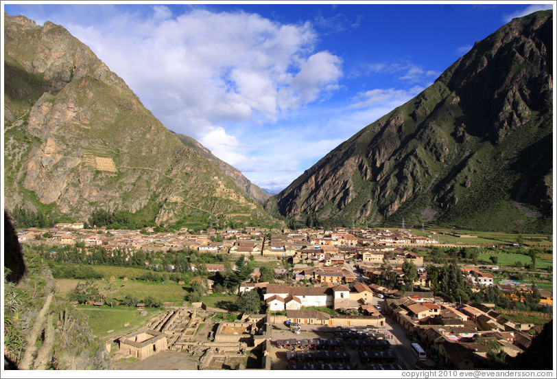 View of Ollantaytambo from Ollantaytambo Fortress.
