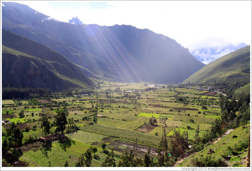 View of fields from Ollantaytambo Fortress.