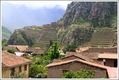 View of houses and Ollantaytambo Fortress from Pinkuylluna hill.