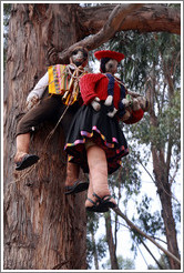 Almost life-sized dolls hanging from a tree, Qenko ruins.