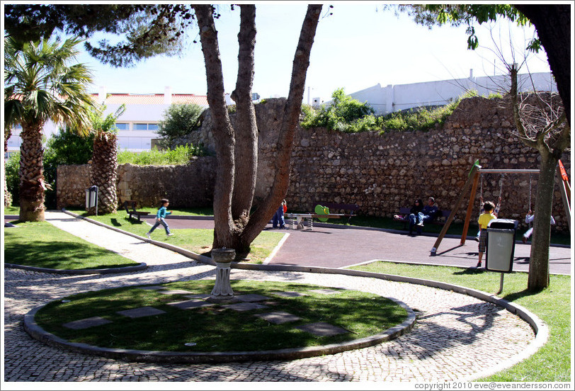 Playground, built within the ruins of the walls of the old castle.