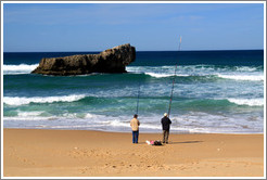 Fisherman and a large rock, Praia do Tonel (Tonel Beach).