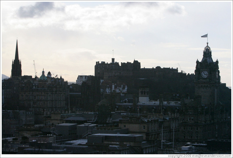 View to the west, including Edinburgh Castle, from Calton Hill.