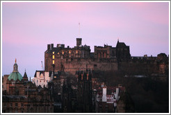 Edinburgh Castle at sunrise, viewed from Calton Hill.