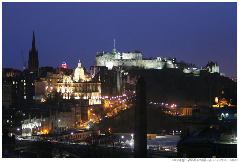Edinburgh Castle at night, viewed from Calton Hill.