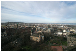 View to the northwest, centered on St. Cuthbert's Parish Church.  Edinburgh Castle.