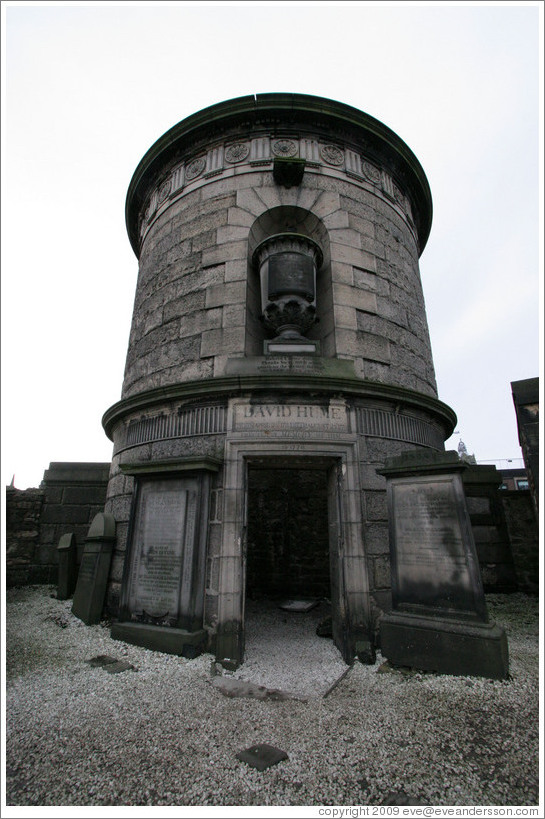 The mausoleum of David Hume.  Old Calton Cemetery.