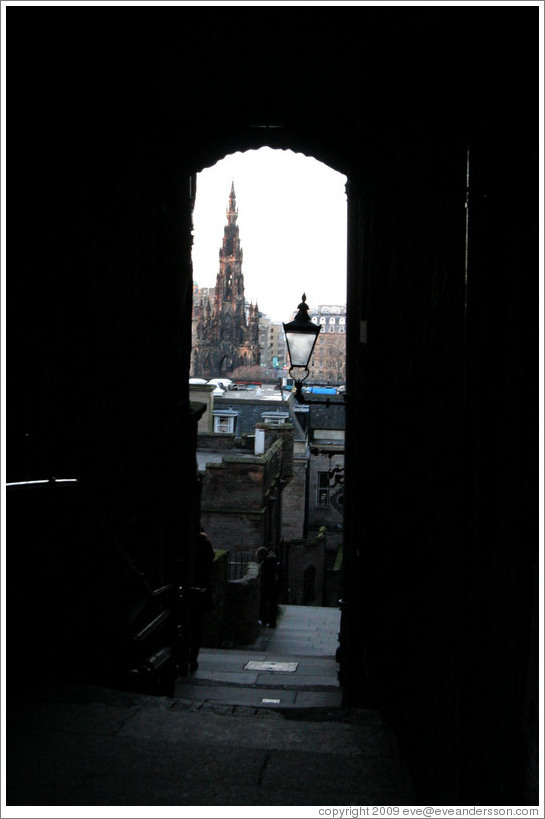 Advocate's Close, with Scott Monument in the background.  Old Town.
