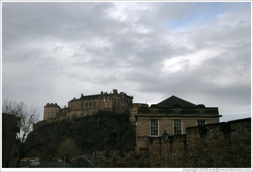 Edinburgh Catle, viewed from the Vennel.  Old Town.