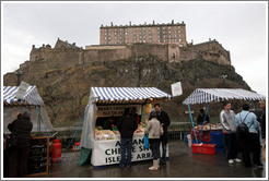 Farmers market, in front of the Edinburgh Castle barracks.  Castle Terrace.  Old Town.