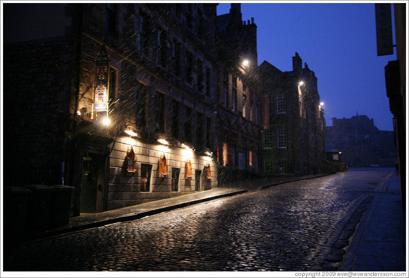 Castlehill, with pre-dawn snow falling.  Old Town.
