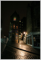 Cockburn Street at night, with a view into Fleshmarket Close.  Old Town.