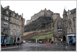 Grassmarket, with the Edinburgh Castle behind.  Old Town.