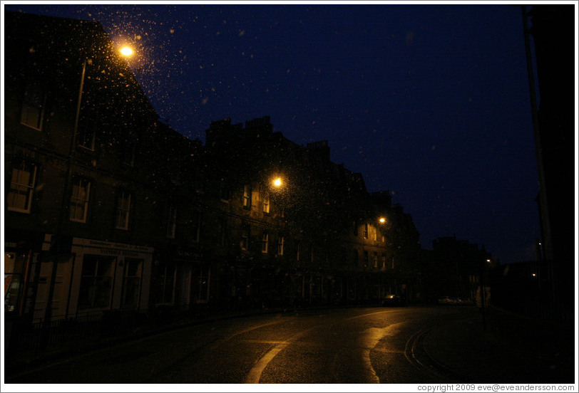 Johnston Terrace in the pre-dawn, lightly snowing.  Old Town.