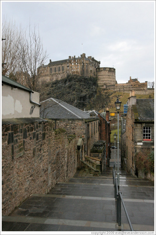 The Vennel with  a view of tthe Edinburgh Castle.  Old Town.