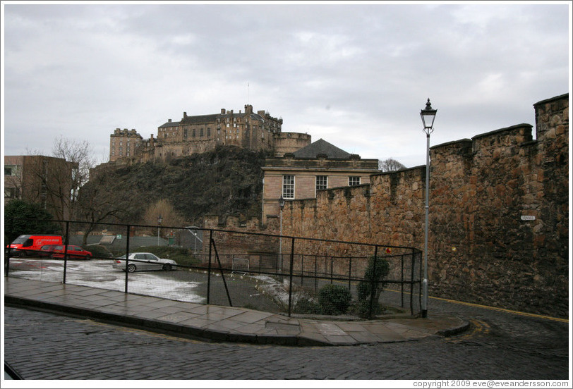 The Vennel and Telfer Wall with  a view of the Edinburgh Castle.  Old Town.