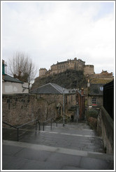 The Vennel with  a view of the Edinburgh Castle.  Old Town.