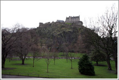 Edinburgh Castle above the Prices Street Gardens.