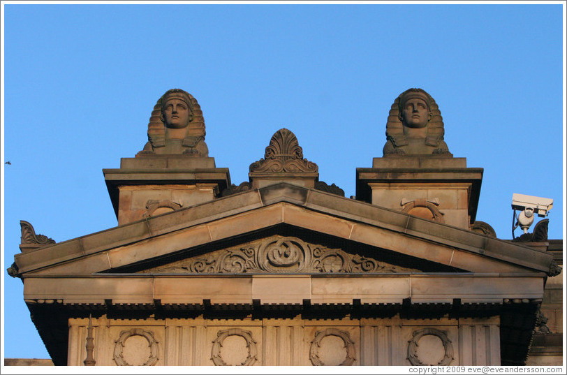 Sphinxes atop the Royal Scottish Academy‎ building.  Princes Street.