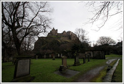St. Cuthbert's Kirkyard, looking toward the Edinburgh Castle.