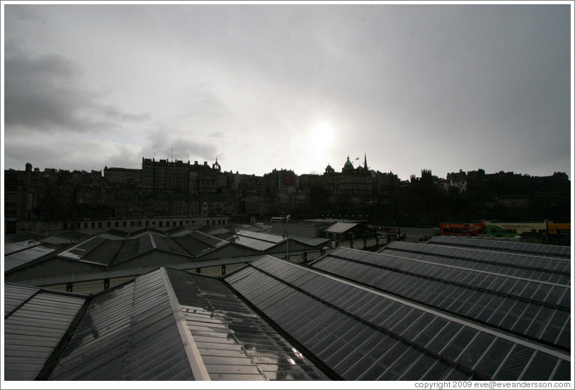 Edinburgh Waverley railway station's roof, with Old Town in the background.