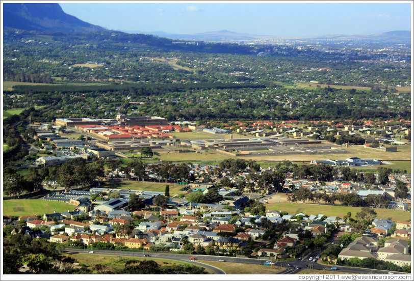 Cape Flats, including Pollsmoor Prison (the building with the red roof), one of the prisons where Nelson Mandela was held.