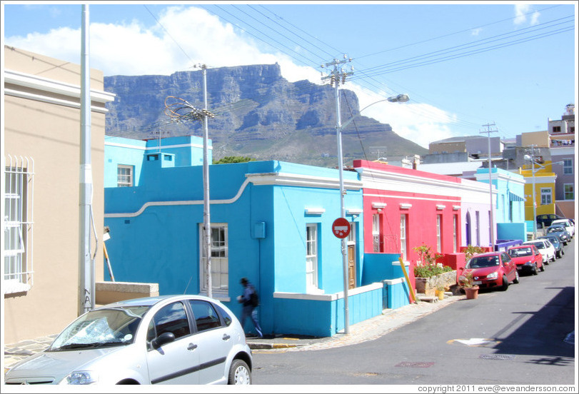 Chiappini Street, Bo-Kaap, with Table Mountain behind.