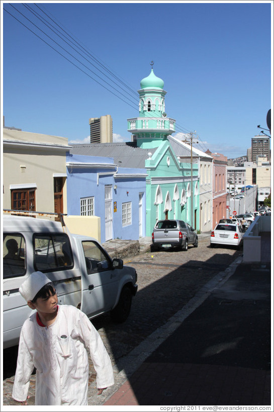 Boy walking. Longmarket Street, Bo-Kaap.