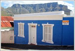 Blue house with Table Mountain behind. Signal Street, Bo-Kaap.