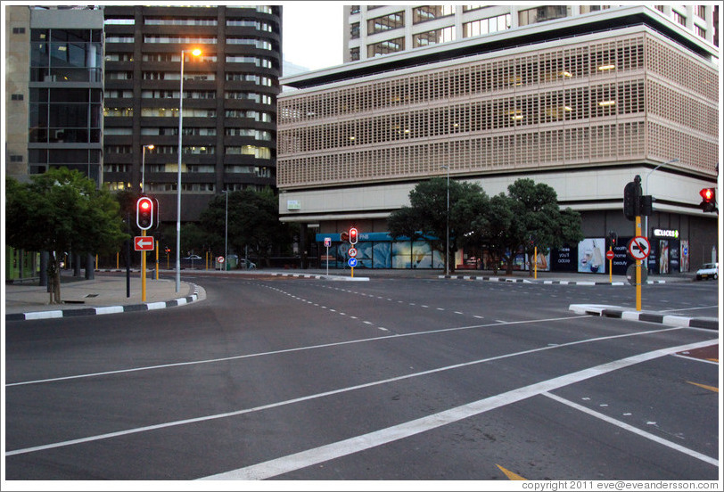 Downtown Cape Town in the early evening; completely empty.