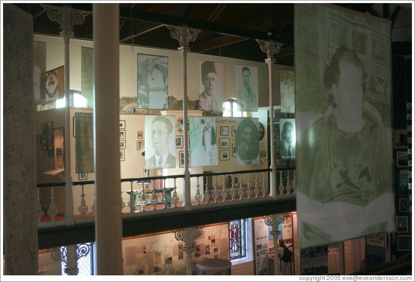 District Six Museum.  Pictures of people who were forcibly removed from their homes and relocated to townships.