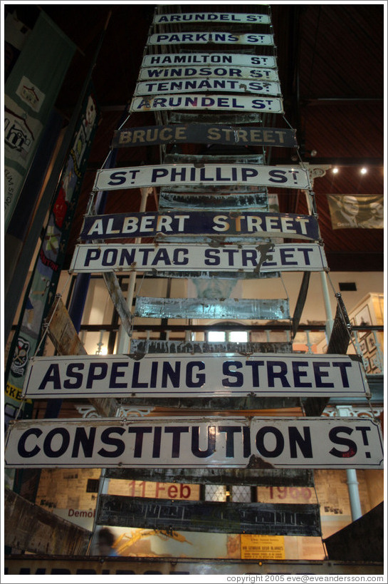 Street signs from District Six, which was torn down, forcing the residents to move to townships.  District Six Museum.