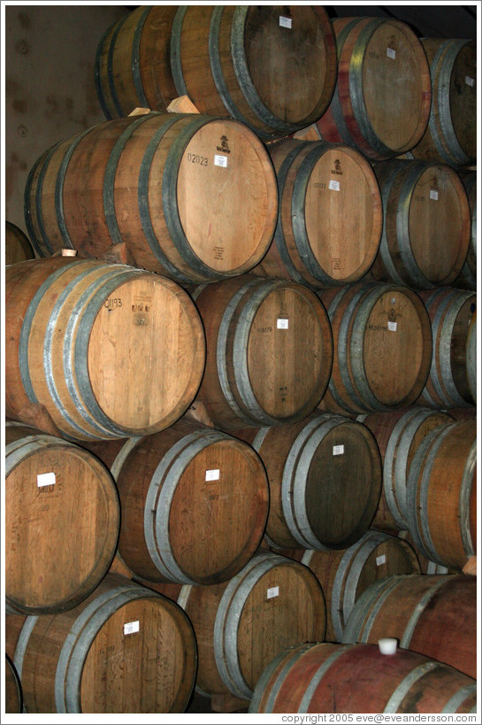 Oak barrels at the Anura winery, near Paarl.