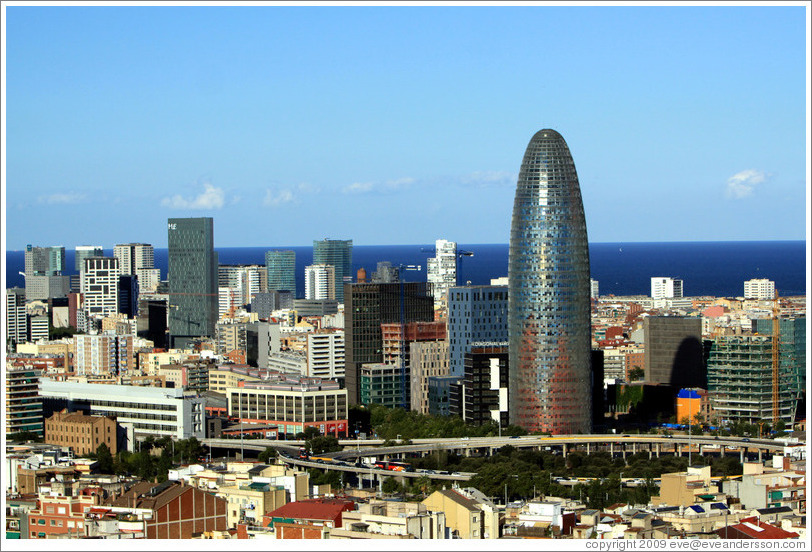 Barcelona, including the bullet-shaped Agbar tower, viewed from the Sagrada Familia.