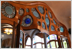 Door frame with stained glass insets.  Casa Batll�.