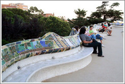 Serpent bench on the central terrace.  Park G?ell.