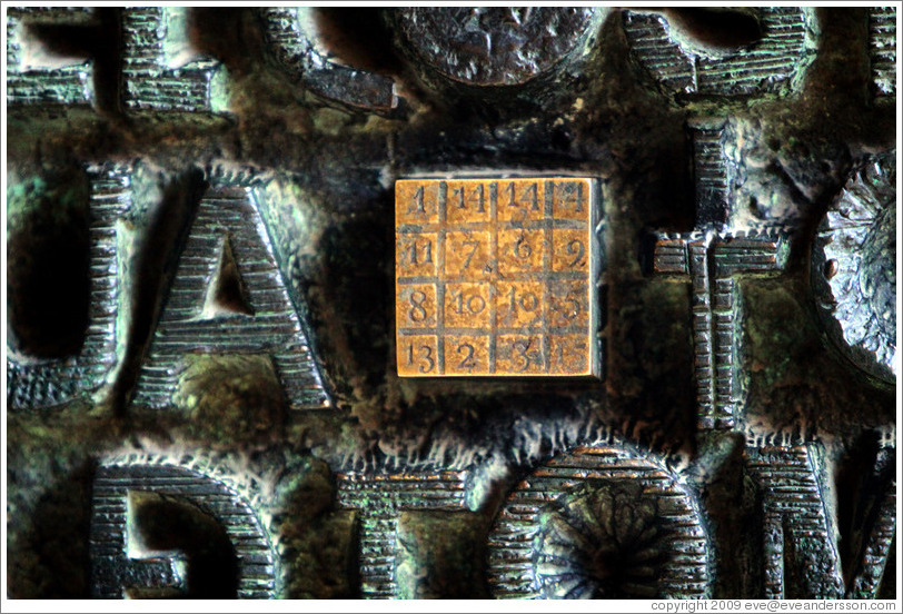 Magic square on a door in the Passion fa?e.  La Sagrada Fam?a.