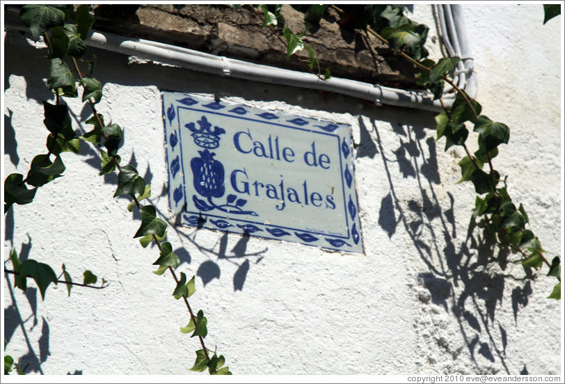 Calle de Grajales street sign, containing pomegranate image, Albaic?