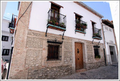 House with three balconies.  Calle del Horno de San Agust?(Street of Saint Augustine's Oven).  Albaic?