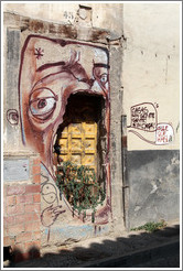 "Graffiti. A face around an unused door says, ""Casas sin gente / gente sin casa"" (""Homes without people / people without homes""). Calle de San Juan de los Reyes, Albaic?"