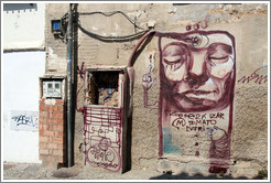 Graffiti. A person's head is being filled with gasoline. Calle de San Juan de los Reyes, Albaic?