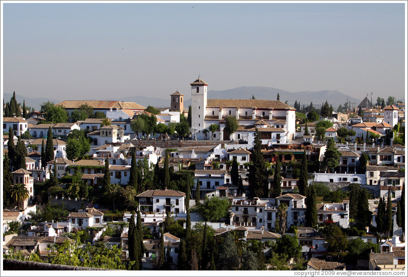 View of View of Albaic? including Mirador de San Nicol? from the Alhambra.
