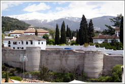 Muralla de la Alcazaba, 8th century wall that protected the city, viewed from Mirador de San Crist?.  Albaic?