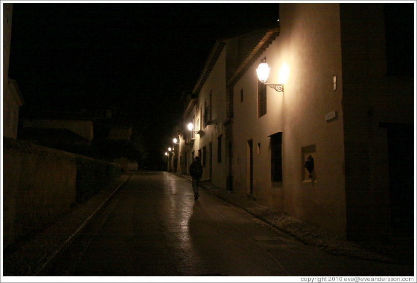 Calle Real, Alhambra, at night.