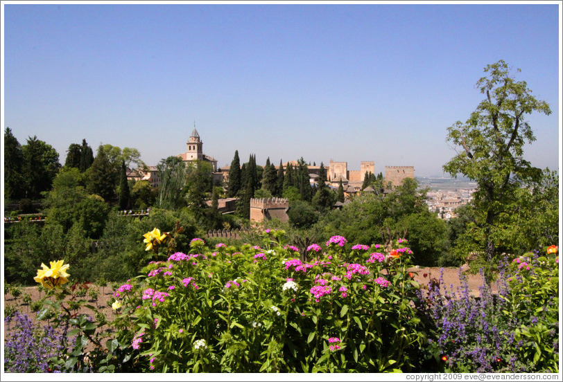 Flowers and view of the Alhambra from Generalife.